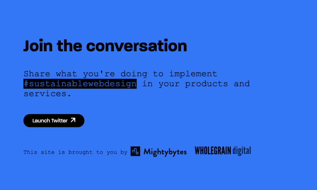 """Screenshot https://sustainablewebdesign.org/, """"Join the conversation"""" section linking to twitter and hashtag #SustainableWebDesign"""